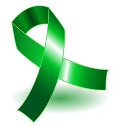 Green awareness ribbon and shadow vector image