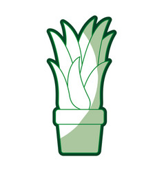 Green silhouette of corn plant in flower pot with vector
