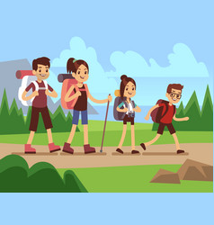 Happy family hikers autumn trekking outdoor vector