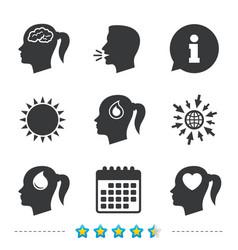 Head with brain iconfemale woman symbols vector