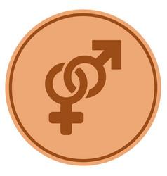 heterosexual symbol bronze coin vector image vector image