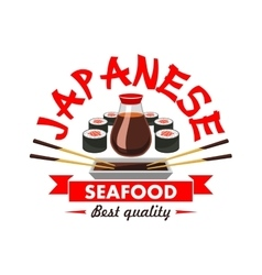 Japanese best quality seafood restaurant emblem vector