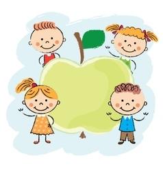 Kids around apple vector