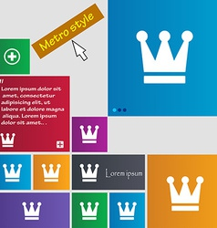 King crown icon sign metro style buttons modern vector