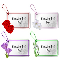 Mothers day card set with flowers vector image vector image
