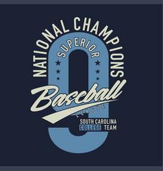 National champions superior baseball league vector