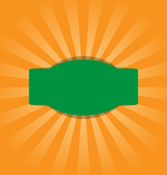 Radial stripes on orange with green frame vector