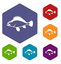 Rose fish sebastes norvegicus icons set vector