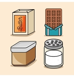 Set butter chocolate salt icons vector