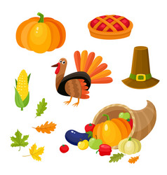 Set of colorful thanksgiving symbols vector
