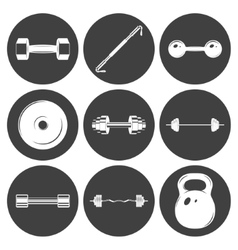 Set of sign weights for fitness or gym icons vector