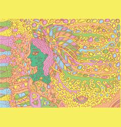 shamanic forest spirit doodle cartoon art vector image vector image