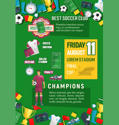 Soccer or football championship match banner vector