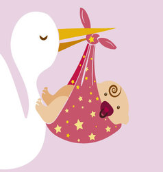 Stork with baby 2 vector image