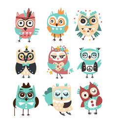 Stylized design owls emoji stickers set of cartoon vector