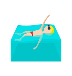 Swimming backstroke cartoon icon vector image vector image