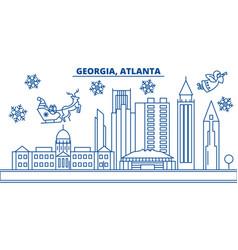 Usa georgia atlanta winter city skyline merry vector