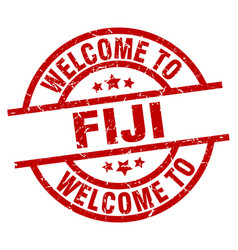 Welcome to fiji red stamp vector
