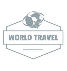 world travel logo simple gray style vector image