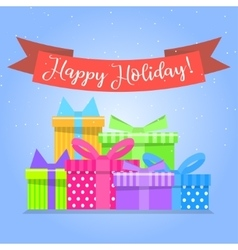 Gift boxes for holiday colorful box vector