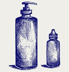 Hygiene products in plastic bottles vector