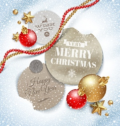 Cardboard labels with Christmas greeting vector image