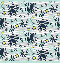Floral lace blue mesh seamless pattern vector