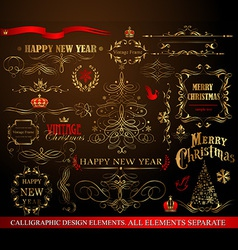 Christmas calligraphic elements vector
