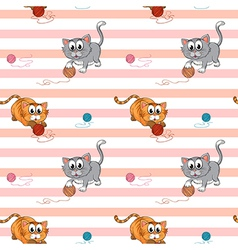 Seamless design with cats playing vector