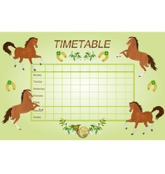 Timetable weekly schedule with brown horses vector