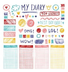 Hand drawn sketch elements for girl diary vector