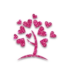 Concept of tree with shimmering heart leaves vector
