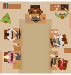 Busy business people sitting on table vector