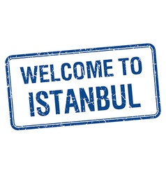 Welcome to istanbul blue grunge square stamp vector