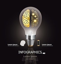 Light bulb brain electric circuit design template vector