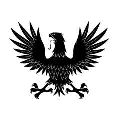 Heraldic eagle in defensive pose with raised wings vector
