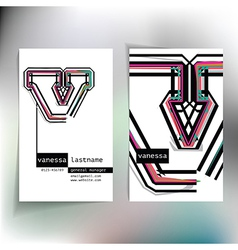 Business card design with letter v vector image vector image