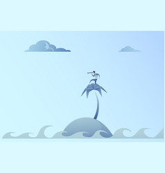 business man on island looking with binocular on vector image vector image