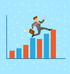 Businessman running along growth graph vector