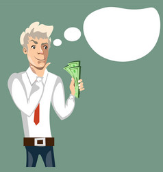 businessman thinks where to spend money vector image vector image