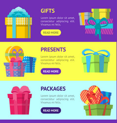 cartoon color gift boxes banner horizontal set vector image vector image