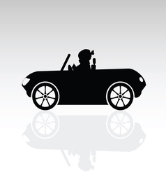 Child sweet drive car silhouette vector