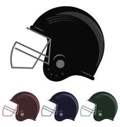 Colorful football helmet icons vector