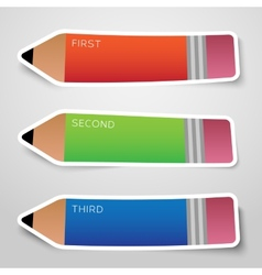 Colorful paper pencil options stickers or banners vector