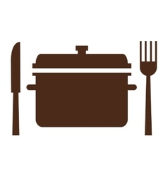 cooking pot with fork and knife icon vector image