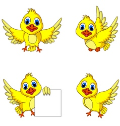 Cute yellow bird cartoon collection vector