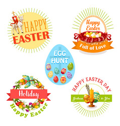 Easter holiday and egg hunt celebration label set vector