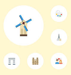 flat icons love cathedral palette and other vector image vector image