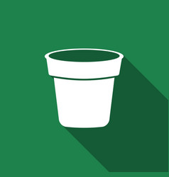 flower pot icon isolated with long shadow vector image