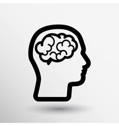 Head brain icon think design over vector